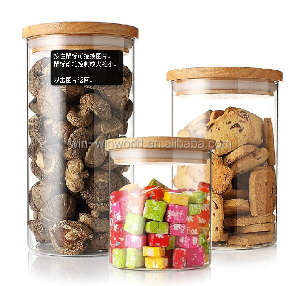 Handblown Airtight Clear Glass Nuts Storage Jar With Wooden Lid