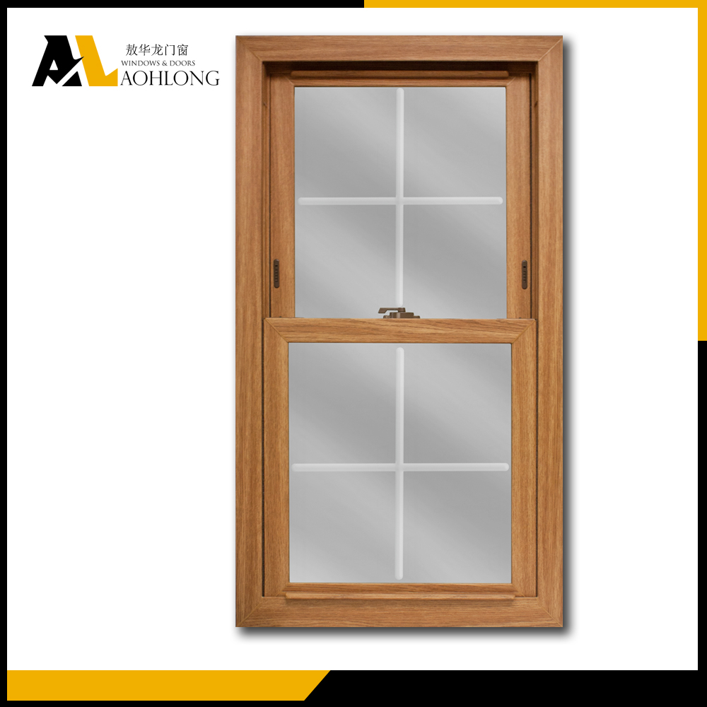 Aluminum Clad Wood Double Hung Window with Grill Design