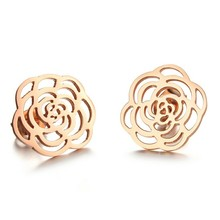 Marlary 24K Gold Dipped Real Rose Earring Jewelry Dubai Saudi Gold Earrings Tops Design Flower Pictures Of Gold Earrings