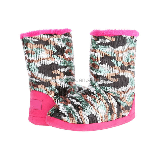 2018 Winter fashion Sequins camouflage snow boots