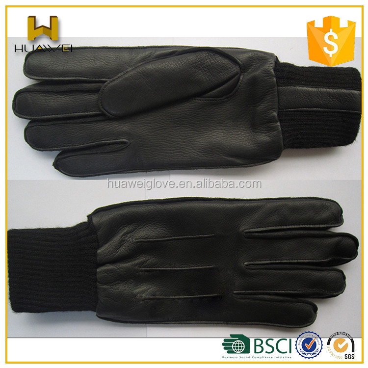 Deerskin Gloves Mens Knitted Cuff Deerskin Leather Gloves for Winter