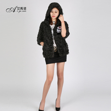 Artical Parten Lamb Fur Coat Real Sheep Fur Hooded Dress Women Winter Clothes Genuine Animal Sheep Fur Apparel Sexy Lady