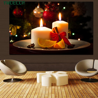 New Christmas Gift LED Canvas Frame Painting Light Up LED Candle Fabric Painting Wall Picture Decoration