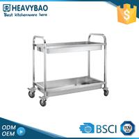 Stainless Steel Knocked-down Equipped To Kitchen Rolling Food Cart Restaurant Trolley