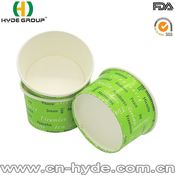 8OZ Biodegradable Ice Cream Cup Paper Lid Cup With Logo