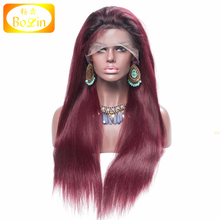 High Density 150% Silky Straight Ombre Color 1B 99J With Dark Root Brazilian Hair Full Lace Wig