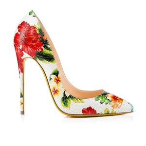 HMP20 Custom logo flowers print sexy high quality pumps women dress shoes