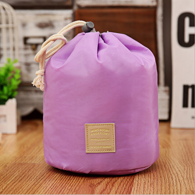Barrel shaped drawstring elegant wash bag makeup bag cosmetic for travel