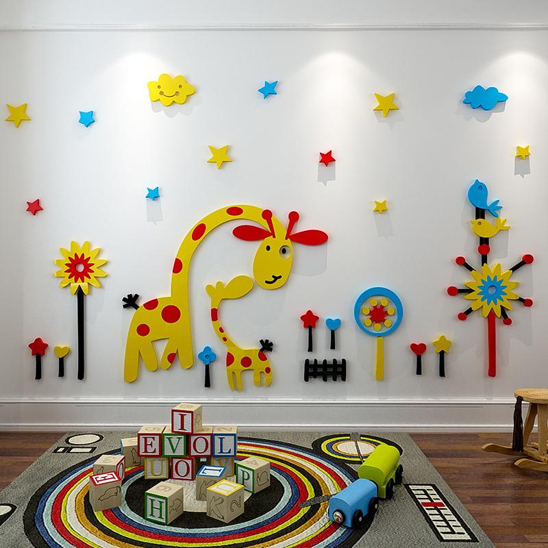 animal giraffe zoo sticker kindergarten kids room home decoration