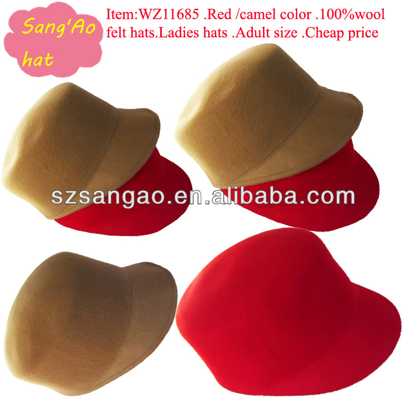 Wholesale/Manufacture Red /camel crushable dress hat fedora fashion baseball 100wool felt wear in festvial /headwear Accessories