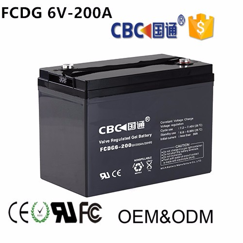 6V200AH Solar FCDG Deep Cycle Rechargeable Storage Battery With Solar System Ups Solar Street Light