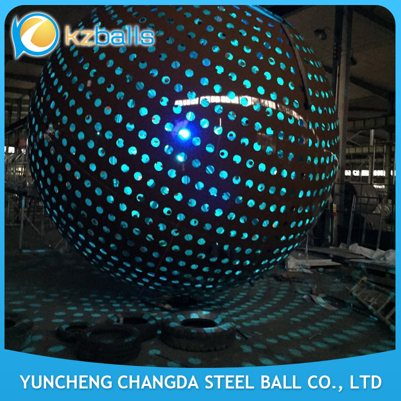 Metal Hollow Out Sphere Stainless Steel Sculpture