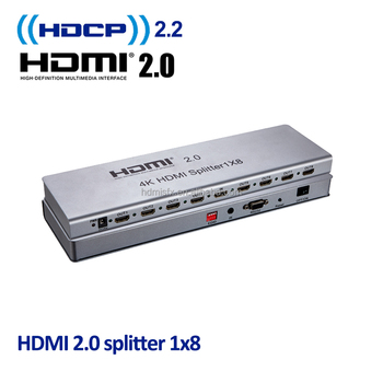 hdmi splitter 1x8 to hdmi and component with edid management, rs232, hdcp 2.2, 1 in 8 out, hdmi 2.0 splitter