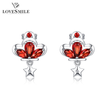 Factory wholesale 925 silver jewelry garnet nature gemstone earring for women