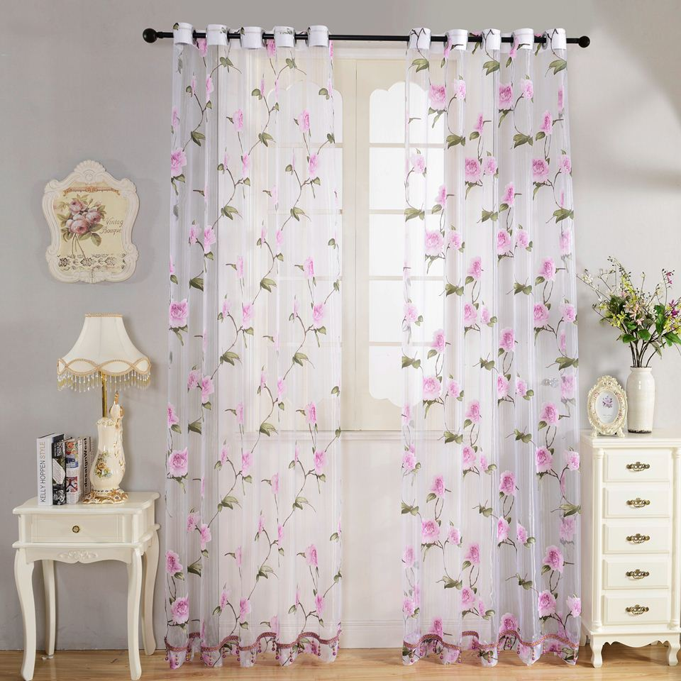 New 2016 Home Tetile Flower Embroidered luury 3D Window Curtains fabric Tulle Sheer Curtains For kitchen Bedroom Living room