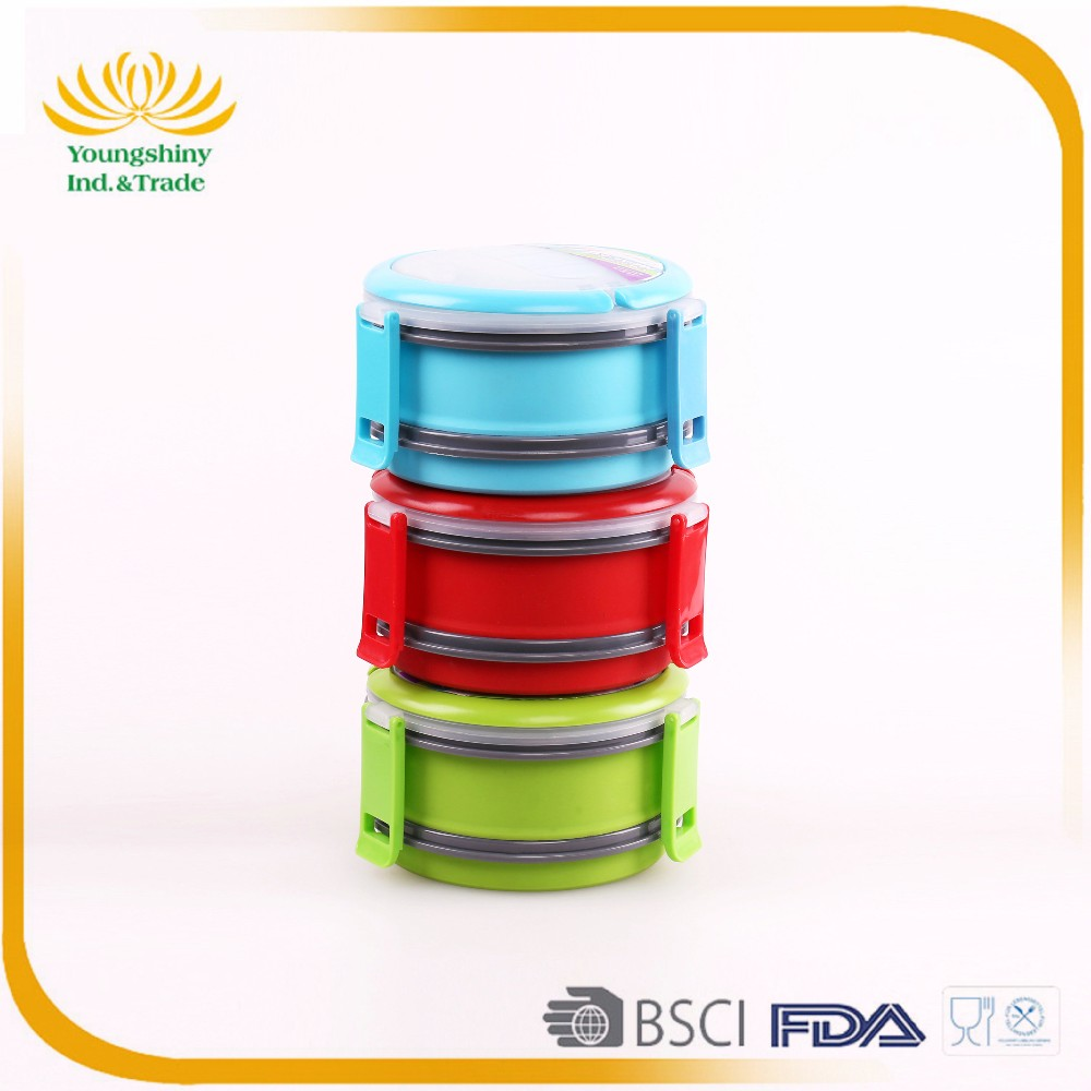 Popular silicone collapsible bento kids lunch box with lock