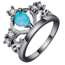 Crown shape opal ring Black gold ring jewelry women support dropshipping