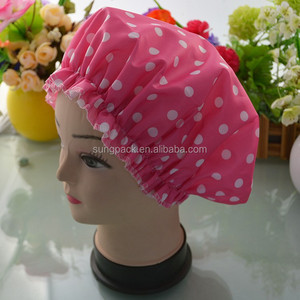 Pink Polka Dot Large Bouffant Shower Caps For Women Washable Reusable EVA Satin Bathing Hair Cap