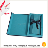 High end fancy blue printed matt laminated detachable lid wallet gift box wholesalers