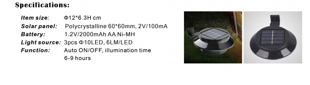 zsyinghao Outdoor Solar Power Panel 3 LED round rechargeable Wall Light / Garden /outdoor lamp YH0415