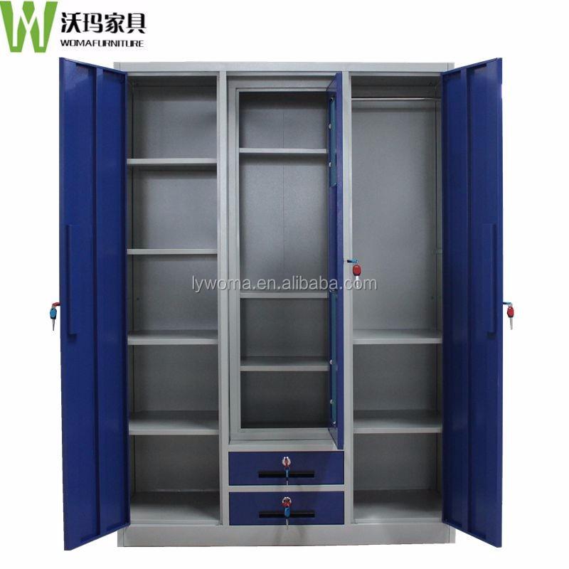 Modern bedroom design 3 door blue colour steel wardrobe for Bedroom cupboard designs with mirror