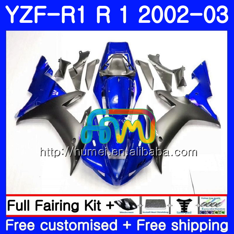 Body For YAMAHA YZF 1000 blue black YZFR1 <strong>02</strong> <strong>03</strong> YZF-1000 Bodywork 99HM2 YZF R 1 YZF <strong>R1</strong> <strong>02</strong> <strong>03</strong> YZF1000 YZF-<strong>R1</strong> 2002 2003 <strong>Fairing</strong>