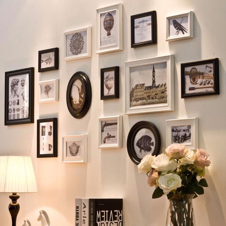 QS-41010D Combination Wall Photo Frame Latest Design of Black Photo Frame Wood