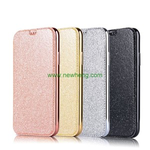 Ultra Thin Glitter Electroplating Soft Tpu Transparent Flip Pu leather Phone Case For iPhone X