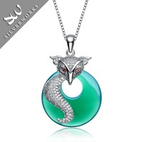 High grade 925 sterling silver pendant necklace with Persian green chalcedony