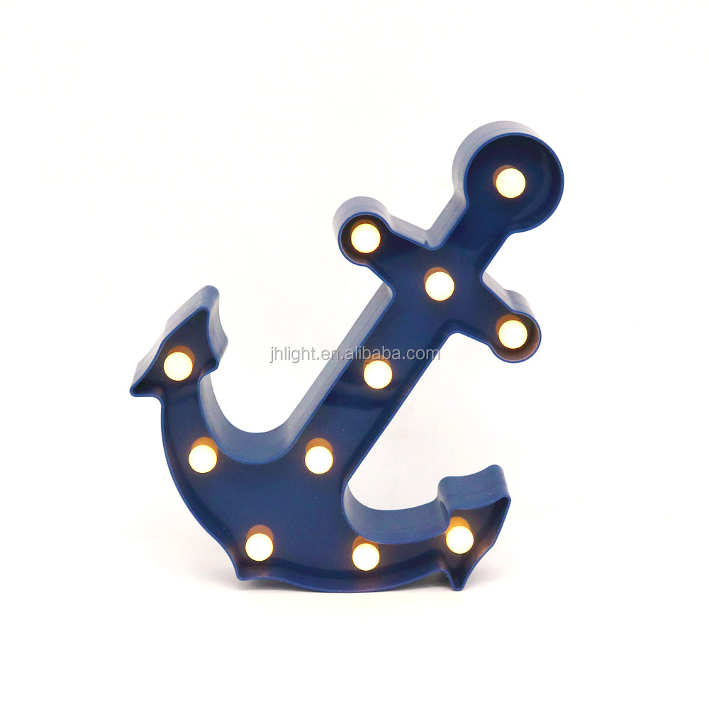 Plastic LED Blue Anchor Marquee Sign with Built In Timer Wall Decor