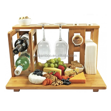 Bamboo Cheese Cutting Board Including Wine Rack Glass Holder