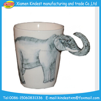 funny shaped promotional ceramic 3d animal mugs for gift kids