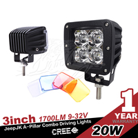 "Pods Spot 20w Led Trail lights motorcycle fog lamp atv 3''*3"" LED Cube/ Pod offroad led work light"