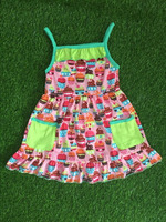 OEM latest style 2016 summer&spring sleeveless fruit ice cream baby clothes fashion design small girls dress