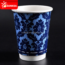 Custom logo printed disposable paper coffe cups 12oz
