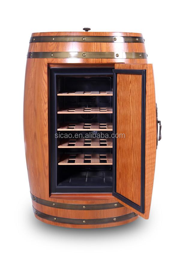 18 Bottles Barrel Shape Wood Mini Fridge Corner Wine Fridge With