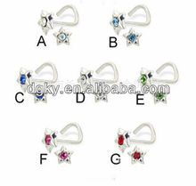 """7"" shape stainless steel nose rings body piercing with star bottom"