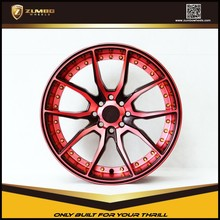 "ZUMBO S0051 Red Face And Under Cut+Black Clear 17"" Alloy Wheel Rims deep dish alloys rims"