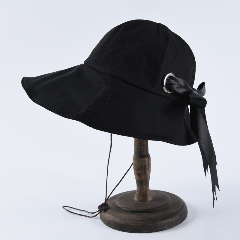 New Bow Decoration Ladies Bucket <strong>Hat</strong> Summer Sunscreen Cotton Fisherman <strong>Hat</strong>