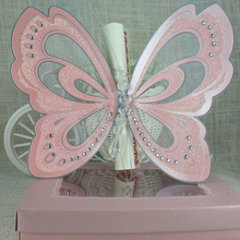 2016 Creative Romantic Pink Butterfly Scroll Wedding Invitation Cards with Box