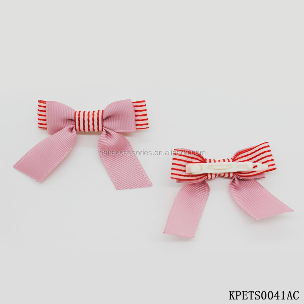 Candy Color Bow Hair Clips, Plastic Clips for Pets, Fashion Thread Ribbon Bow