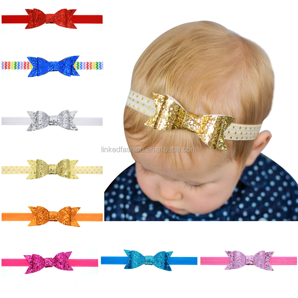 Infant Faux Leather Bow Headband,Baby Nylon Headbands,Fancy Baby Headbands
