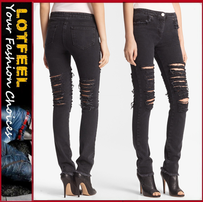 Shredded knees deconstruct Skinny women Ripped Stretch Jeans (LOTX299)