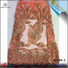 ML794-3 Nigeria fashion style lace fabric african tulle high quality with beaded and stones french lace