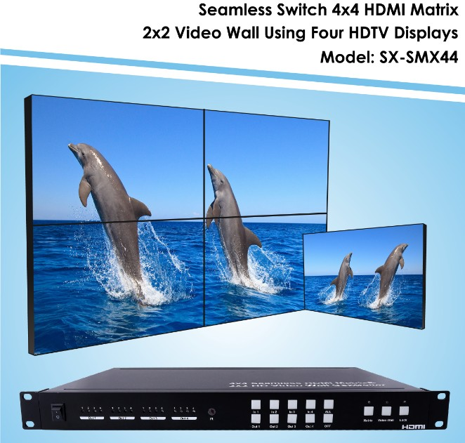 4 TV's controller, 2 x 2 Video Wall Processor and 4x4 Seamless Switch matrix