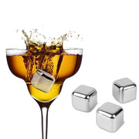 Best Price 2Pcs/lot New Stainless Steel Ice Cubes Cool Glacier Rock Neat Drink Freezer gel Wine Whiskey Stones For Great Gift