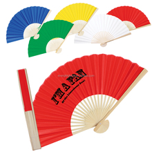 F114-Bamboo frame hand fan with paper imprinted custom logo for promotion