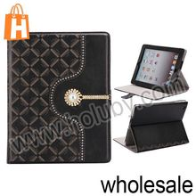 Diamond Encrusted Stand Flip Leather Case for New iPad iPad 2 iPad 4
