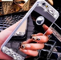 Mirror Luury Diamond Rhinestone TPU Case for iPhone 5 6 6s 4.7 plus 5.5 Soft Silicone Thin Protective Back Cover for iphon 6 s