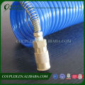 PU blue coiled pneumatic pipe with brass quick connector